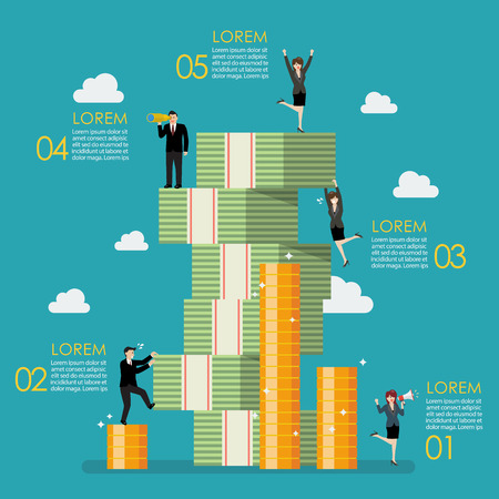 Business people try to climbing money mountain infographic. Business concept