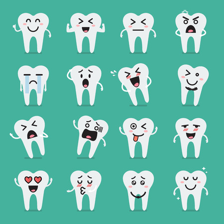 carious: Tooth character emoji set. Funny cartoon emoticons