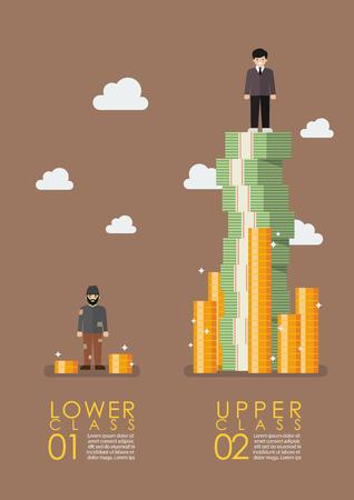 Social stratification gap infographic. Vector illustration