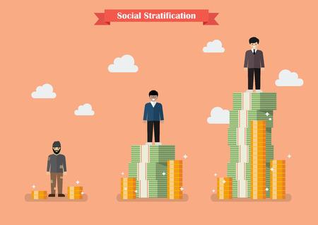 Soziale Schichtung mit Geld. Vektor-Illustration