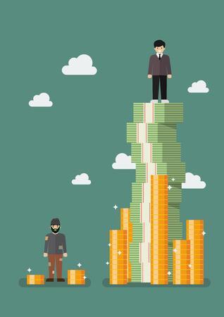 Luka między bogatymi a biednymi. Ilustracji wektorowych Ilustracje wektorowe