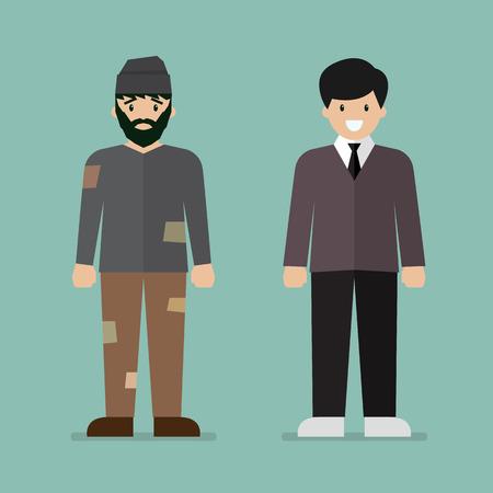 Obdachloser Mann und reicher Manncharakter. Vektor-Illustration