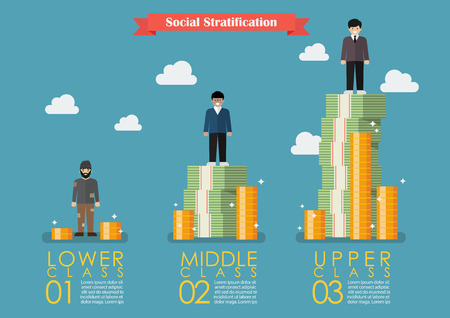 stratification: Social stratification with money infographic. Vector illustration Illustration