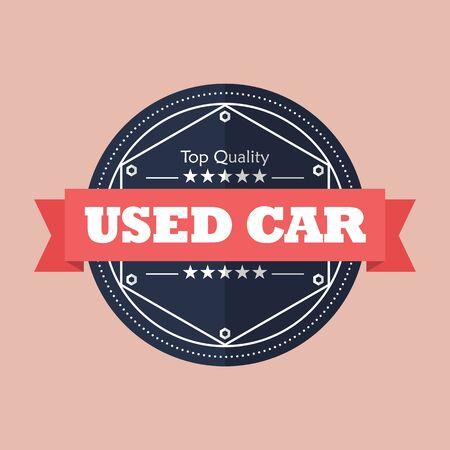 Used car badge design. Flat style vector illustration