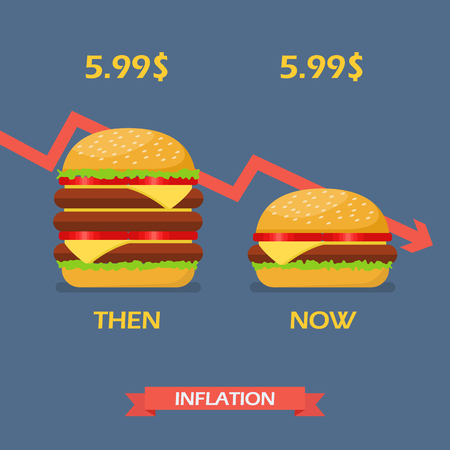 Inflation concept of hamburger. Vector illustration Illustration