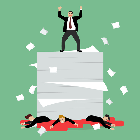 Businessmen standing over a lot of documents and his enemy. Vector Illustration