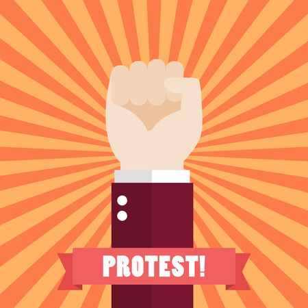 Fist raised up. Protest concept vector illustration