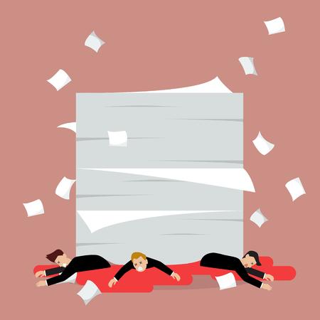 Businessmen under a lot of documents. Vector Illustration