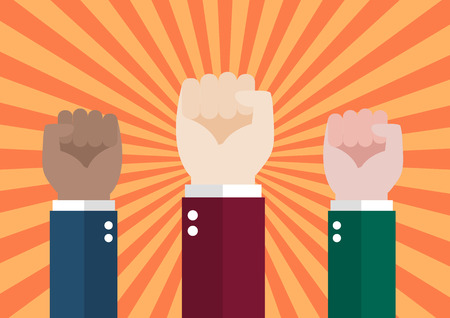 uprising: Human hand protesters. Protest concept vector illustration Illustration