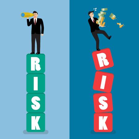 Two businessman standing on risk blocks. Risk management business concept