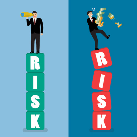 Two businessman standing on risk blocks. Risk management business concept