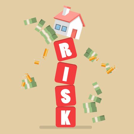 subprime mortgage crisis: Real estate on shaky risk blocks. Investment risk concept.