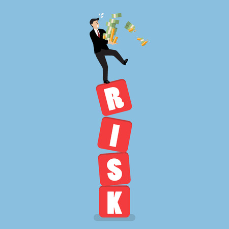 Businessman carrying his money on shaky risk blocks. Investment risk concept Illustration