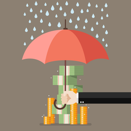 Save for a rainy day. financial savings concept