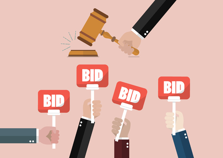 competitor: Auction and bidding concept. Hand holding auction paddle
