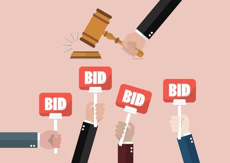 Auktions- und Angebotskonzept Hand hält Auktion Paddel Vektorgrafik