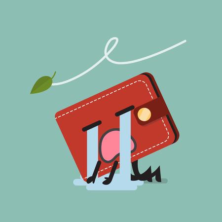 Broke wallet character. Funny cartoon emoticons