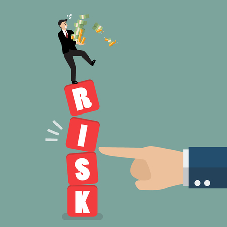 Businessman standing on shaky risk blocks by hand of enemy. Investment risk concept Illustration