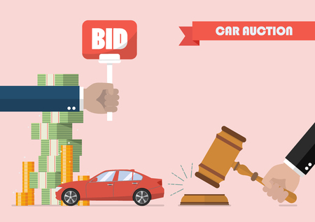 Buying selling car from auction. Vector illustration Ilustração