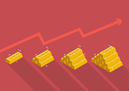 Gold price with graph up. Vector illustration