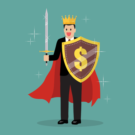King businessman with shield and sword. Vector Illustration