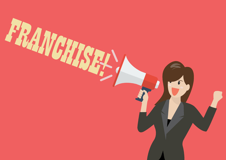 Business woman holding a megaphone with word franchise. Vector Illustration Illustration