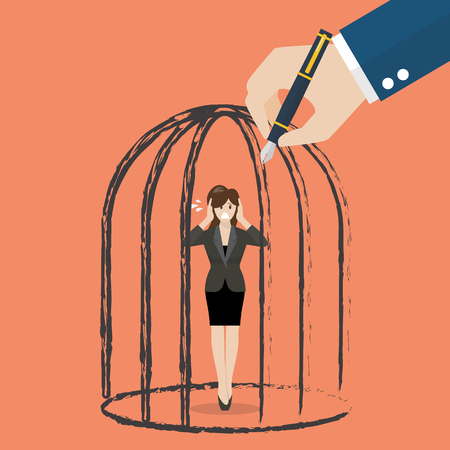 detain: Business woman standing in a hand drawn cage. Business concept