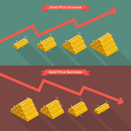 Gold with price chart. Vector illustration
