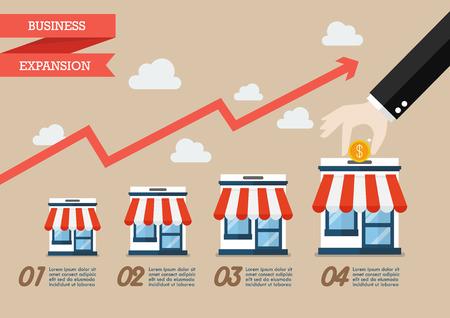 Stap van de hand verzamel het geld in de winkelwinkel infographic. Vector platte stijl Stock Illustratie