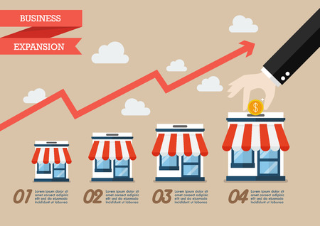 Step of hand collect the money in shop store infographic. Vector flat style Çizim