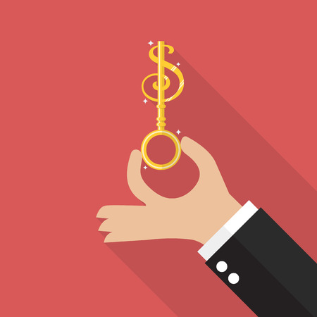 private access: Hand hold money key. Vector illustration Illustration