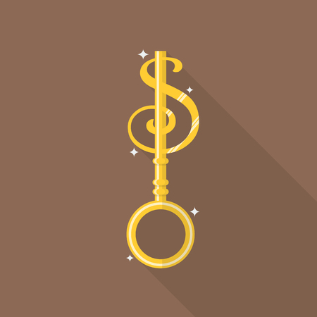 Key to money in flat style icon. Financial concept