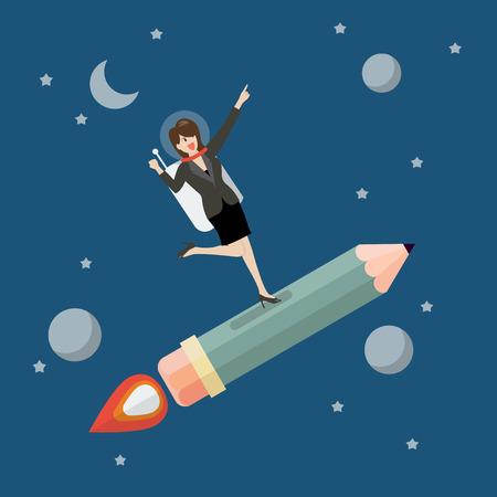 science symbols metaphors: Business woman astronaut on pencil rocket. Flat style vector illustration
