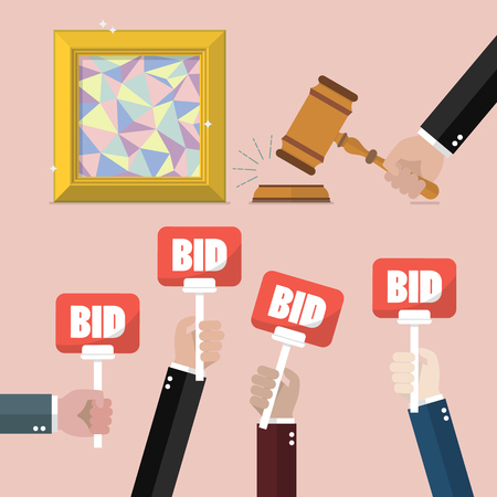 Buying selling painting from auction. Auction and bidding concept