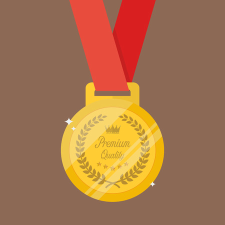 Gold medal in flat style. Symbol of victory and achievement Illustration