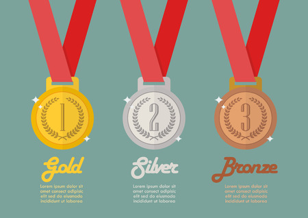 elite sport: Gold silver and bronze medals infographic. Flat style vector illustration