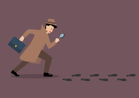Detective investigate is following footprints with magnifying glass. Vector illustration