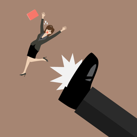 big foot: Business woman kicked by her boss big foot. Vector illustration