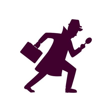 Silhouette of detective character design. Vector illustration isolated on white background