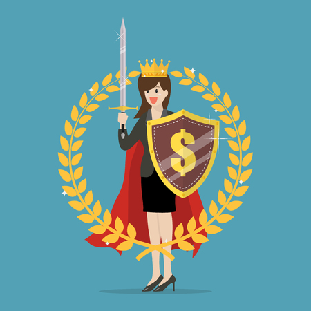 Woman with shield sword and golden wreath. Symbol of victory and achievement Illustration