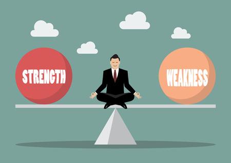 Balancing between strength and weakness. Vector illustration Stock Illustratie