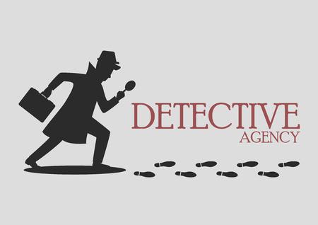 Silhouette of detective agency. Vector illustration Illustration