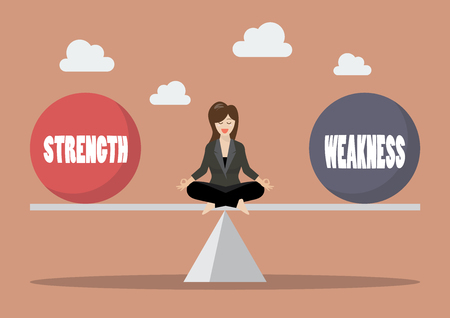 Business woman balancing between strength and weakness. Vector illustration Çizim