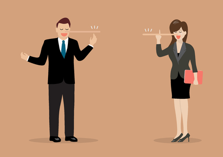 Lying businessman and woman with long nose. Vector Illustration