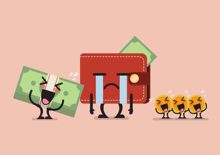 Banknote and coin laughing at crying wallet. Funny cartoon emoticons Иллюстрация