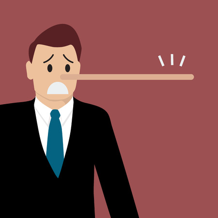 Lying man with long nose. Vector illustration Illustration