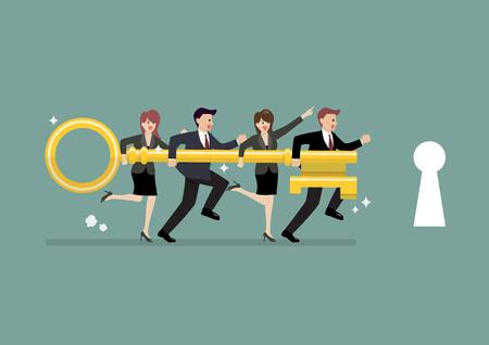 Commercieel team die gouden sleutel houden om het slot te openen. Bedrijfsconcept Stock Illustratie