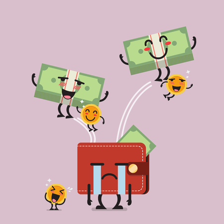 Happy money jumping out of desperate wallet. Funny cartoon emoticons Illustration
