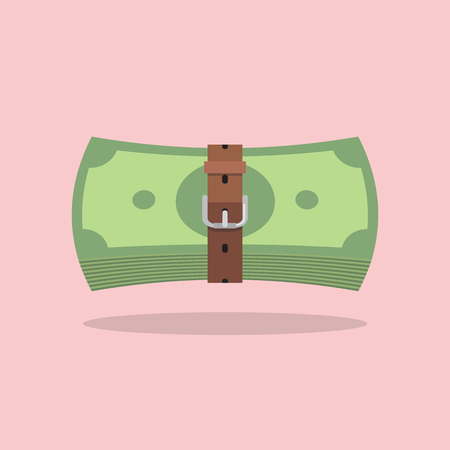 Money bills with a tight belt. Tight budget and recession shrinking economy concept Illustration
