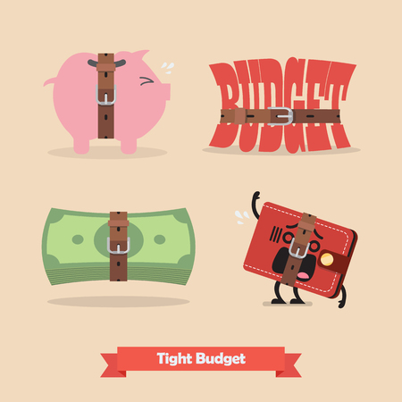 Tight budget and recession shrinking economy collection. Saving money concept
